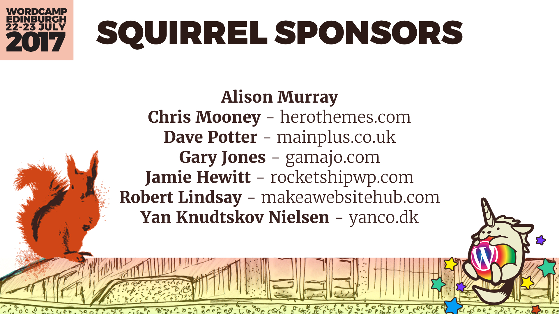 Red Squirrel Sponsors 2017